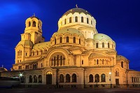 St Alexander Nevsky Cathedral at Dusk, Sofia, Bulgaria