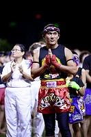 Muay Thai boxer at Hockey Stadium, Kuching, Sarawak, Malaysia.