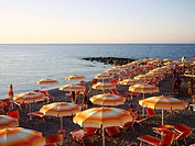Sun umbrellas at a beach at Capo d'orlando, Siciliy