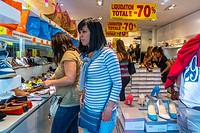 Paris, France, French Female Teens Shopping inside Shoe Store on the Avenue Champs Elysees