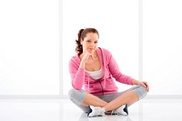 Fitness happy woman sportive outfit