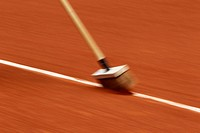Brush, lines, clay court, wiping effect, French Open 2012, ITF Grand Slam tennis tournament, Roland Garros, Paris, France, Europe
