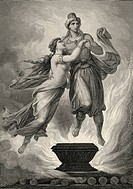 Historic steel engraving by Ferdinand Rothbart, 1823 - 1899, a German illustrator, the Indian god Mahadoeh and a Bayadere, a devadasi or dancer, title...