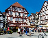 Half_timbered houses in the market square, Eschwege, Werra_Meissner district, Hesse, Germany, Europe