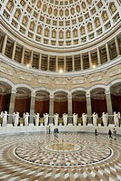 Interior view of Befreiungshalle, Liberation Hall, built by Friedrich von Gaertner and Leo von Klenze, with marble statues of the goddesses of victory...