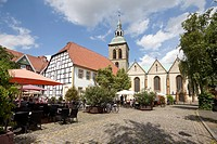 Historic district with Marktplatz square and the Church of St. Aegidius, Wiedenbrueck, Rheda_Wiedenbrueck, Muensterland region, North Rhine_Westphalia...