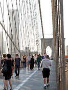 Tourists on Brooklyn Bridge, Manhattan, New York City, USA, North America, America