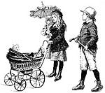 Historical drawing from England, 19th century, children playing father, mother and child, around 1894
