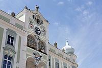 Town Hall with a ceramics glockenspiel, Gmunden, Salzkammergut region, Upper Austria, Austria, Europe, PublicGround