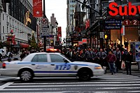 Street scene with a police car of the NYPD, New York Police Department, 7th Avenue, Fashion Avenue, Midtown Manhattan, New York City, New York, USA, U...