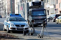Laser measuring device being used by the police, speed trap marathon of the police in North Rhine_Westphalia, 24 hours of intensive speed controls aga...