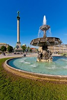 Jubilee Column, fountain, Neues Schloss, castle, New Palace, Schlossplatz square, Stuttgart, Baden-Wuerttemberg, Germany, Europe