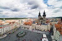 A beautiful view of Prague´s old town Sq  and the Church of our lady before Tyn