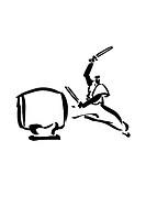 Man Playing Drum, Illustration