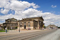 Schinkelwache, former guard house, and Semper Opera, Theaterplatz square, Dresden, Saxony, Germany, Europe