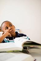 Black boy studying