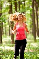 Blonde lady running