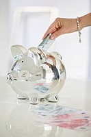 Person's hand putting money into a piggy bank (thumbnail)