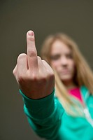 Girl showing middle finger (thumbnail)
