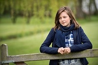 Girl thinking in a farm