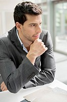 Close-up of a businessman thinking (thumbnail)