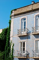 beautiful and traditional view of antique building with clinging flowers in Lisbon