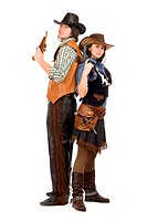 cowboy and cowgirl with a guns