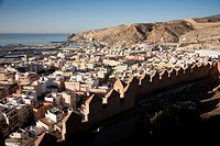 Citadel and aerial view of the city, Almeria, Andalucia, Spain, Europe