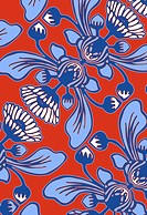 Blue African daisy design on orange background