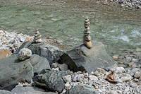 Cairns on the Ammer river near Linderhof Castle, Bavarian Alps, Upper Bavaria, Bavaria, Germany, Europe