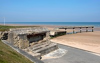 Bunker and landing bridge at Omaha Beach, Vierville_sur_Mer, Normandy, France, Europe