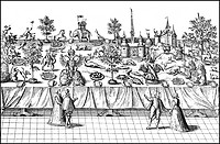 Historic drawing, courtly pomp table in England, around 1600