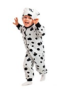 boy dressed in Dalmatian suit