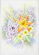 Water_colour, summer bouquet wit