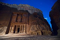 The Treasury At Night In The Nabatean City, Petra Jordan