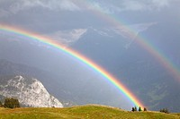 mountainous landscape with rainbow, Schynige Platte, Bernese Oberland, Switzerland