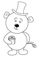 Teddy bear with flower in cylinder, contour