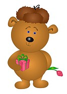 Teddy bear with box and flower
