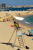Europe, Spain, Calonge beach liveguard in the beach