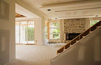 Unfinished Staircase And Living Room In An Upscale Residential Home, Quebec Canada