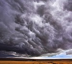 Enormous storm cloud above an field
