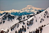 Snowy Mount Saint Adams and Ridge Lines Mountain Glacier from Crystal Mountain