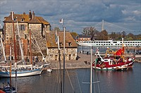 the Vieux Bassin with the Lieutenance XVIth c and ancient boats, in Honfleur, Calvado, Normandy, France