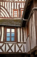 Typical half timbered norman house, Honfleur, Calvados, Normandy, France