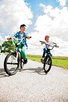 Two kids on bikes