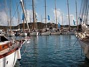 Panerai Regatta, Vintage Boats moored in the port of Mahon, Menorca, Balearics, Spain, Europe,