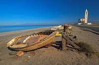Cabo de Gata, Almadraba de Monteleva, San Miguel Church, Fishing boat, Beach, Cabo de Gata-Nijar Natural Park, Almeria, Spain, Europe