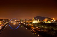City And River Tyne Illuminated At Night, Newcastle Northumberland England