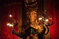 A Statue Illuminated With Lights In Hearst Castle A Mediterranean Style Mansion Near San Simeon, California United States Of America
