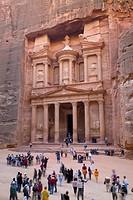 Tourists Visit The Treasury In The Nabatean City, Petra Jordan